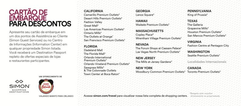 Cupons de Desconto para os Outlets dos Estados Unidos