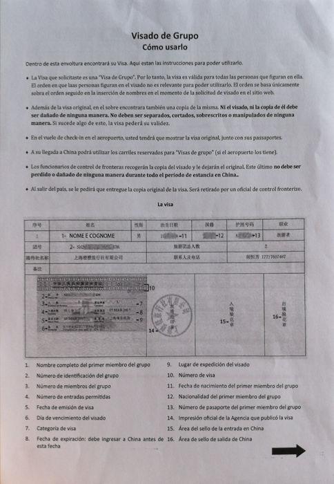 Guía Visado Grupo Visa China Direct