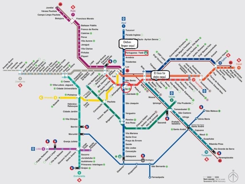 Mapa de cómo ir del aeropuerto de Guarulhos hasta el terminal Tiete