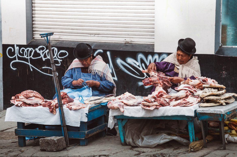 Essa cena eu fotografei em uma feirinha de rua. É muito comum as cholas venderem carnes desta forma. (E o pior, ao lado delas estavam alguns cachorros de rua!)