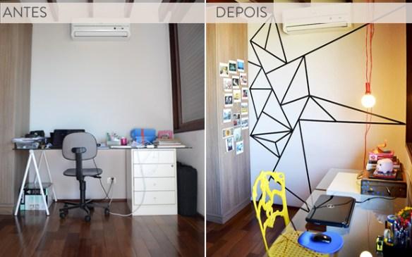 home-office_decoraçao fita isolante_formas_geometricas