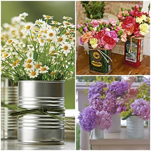 arranjos flores em latas