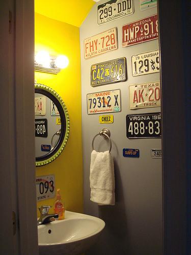 placas decoraçao banheiro lavabo