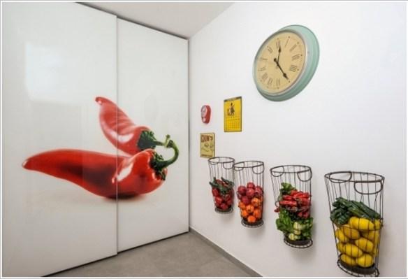 cesta aramada parede frutas legumes alimentos