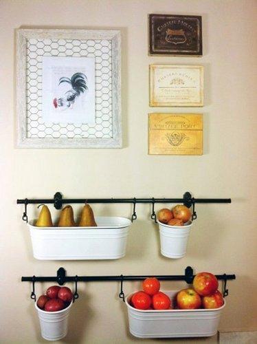 cestos barra parede frutas vegetais cozinha