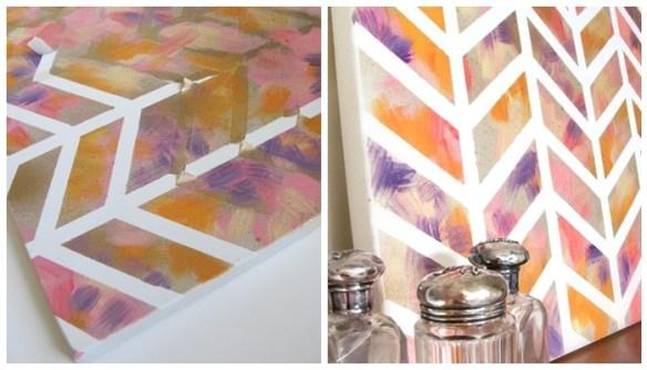 pintura desenho fita adesiva tela diy