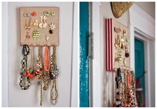 porta bijuterias brincos colares tela de pintura diy