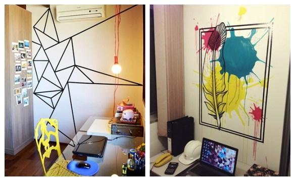 decoraçao fita isolante home office escritorio