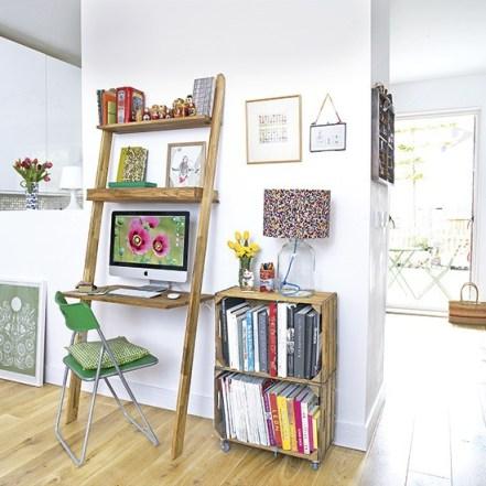 pequenos home offices ideias inspiraçoes caixote madeira feira livros