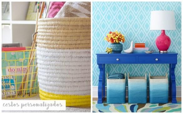 cestos pintados decoraçao organizaçao cestos personalizados 3