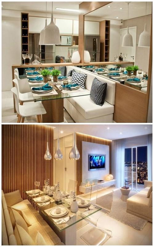 Ideias para pequenos espa os sala de jantar viajando for Mesas para apartamentos pequenos