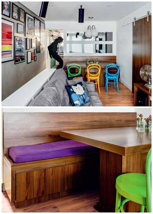 sala-jantar-pequena-mesa-com-banco-apartamento-pequeno-cadeiras-coloridas