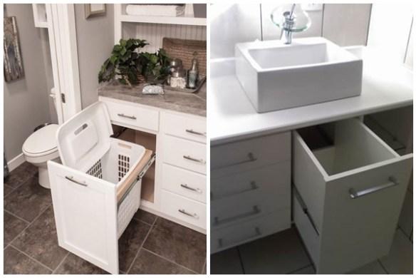 Cesto de roupa suja no armário do banheiro