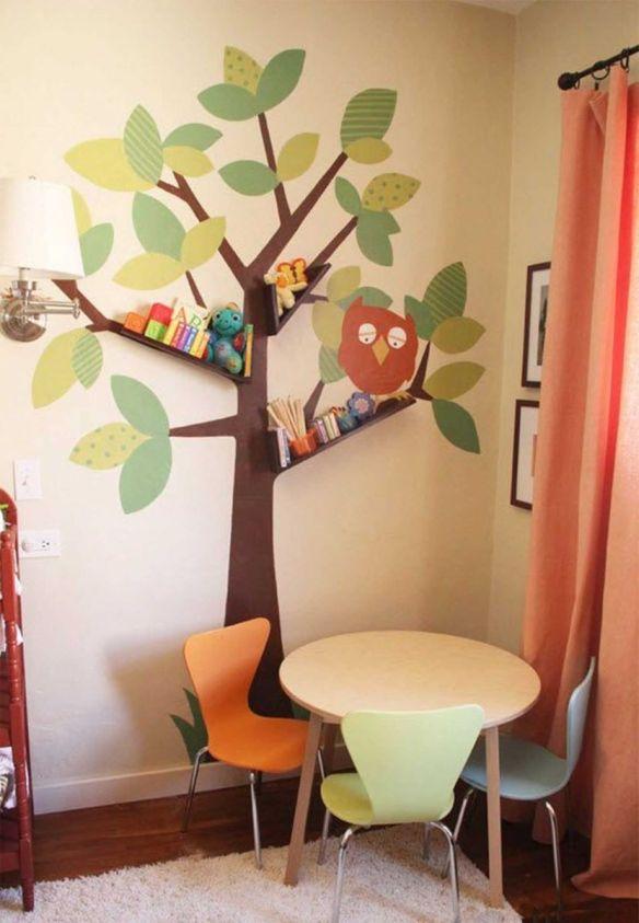 arvore parede prateleiras ideias criativas quarto criancas