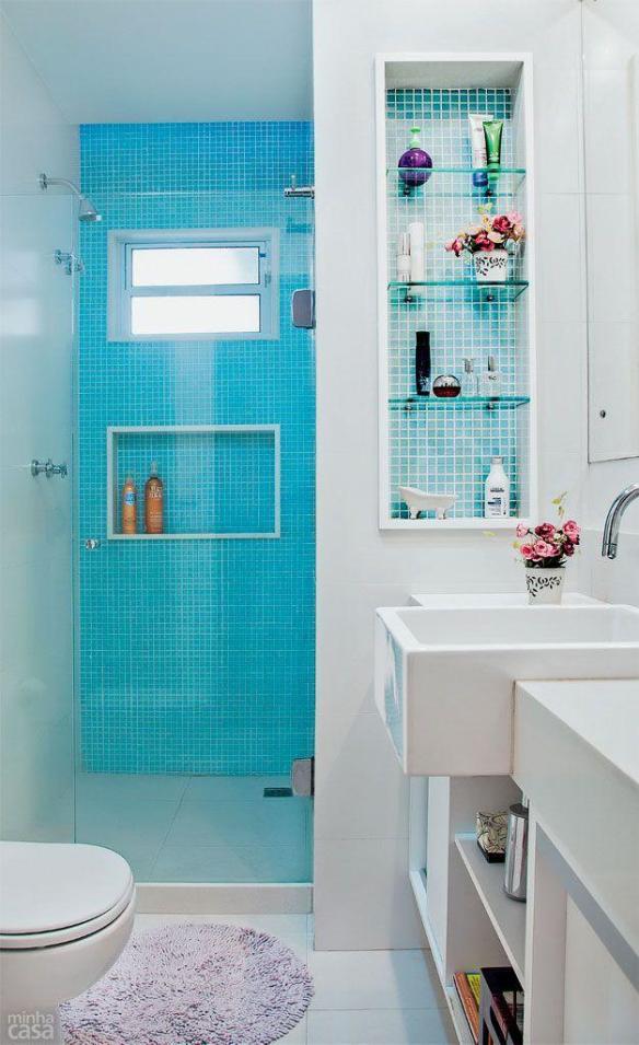banheiro decoracao azul pastilhas azuis nichos 2