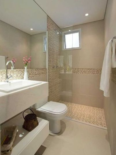 banheiro decoracao clean neutra pastilhas