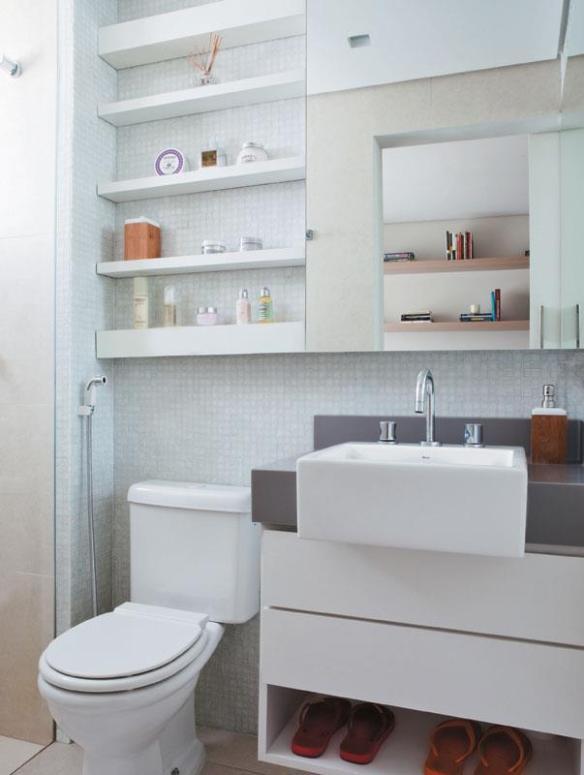 banheiro prateleiras bancada pia cinza decoracao