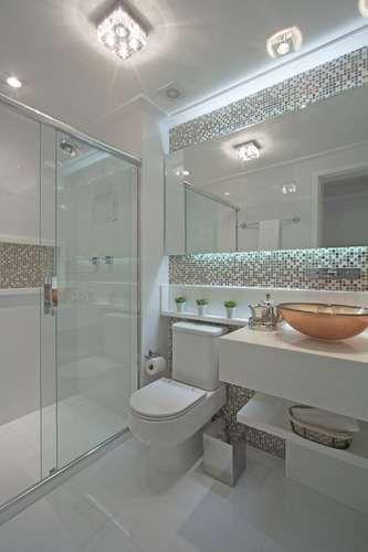 banheiros decorados decoracao neutra clean banheiro com pastilhas