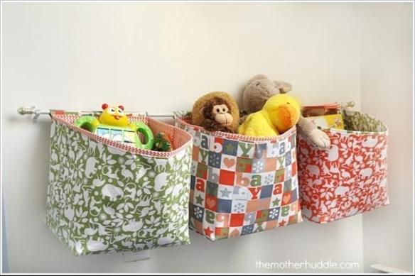 cestos tecido parede organizacao brinquedos