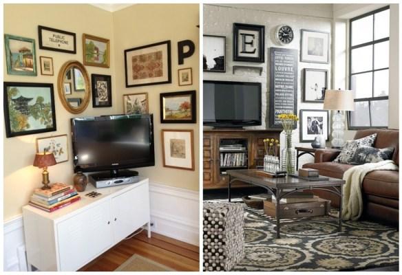 composicao tv parede quadros objetos decorativos 3
