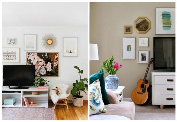 composicao tv parede quadros objetos decorativos