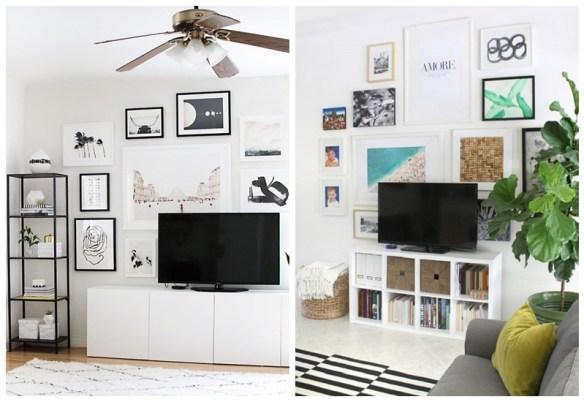 ideias camuflar esconder disfarcar tv decoracao quadros parede tv composicao