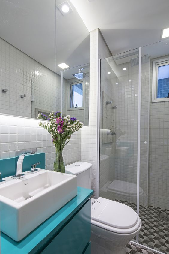 piso geometrico banheiro moderno decoracao