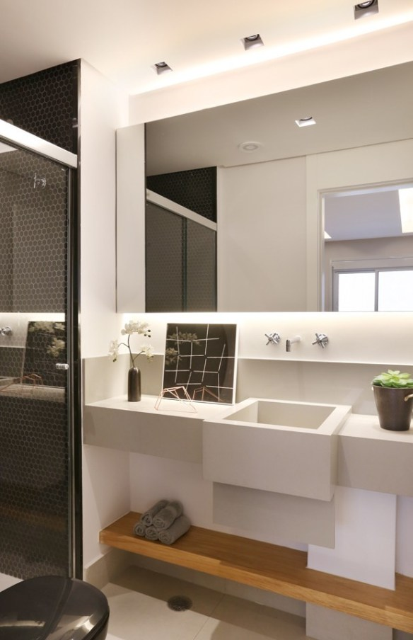 revestimento geometrico parede boxe banheiro pequeno decorado