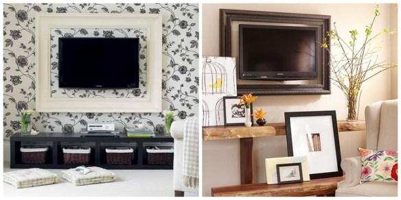 tv emoldurada moldura na tv disfarcar camuflar televisao ideias decoracao