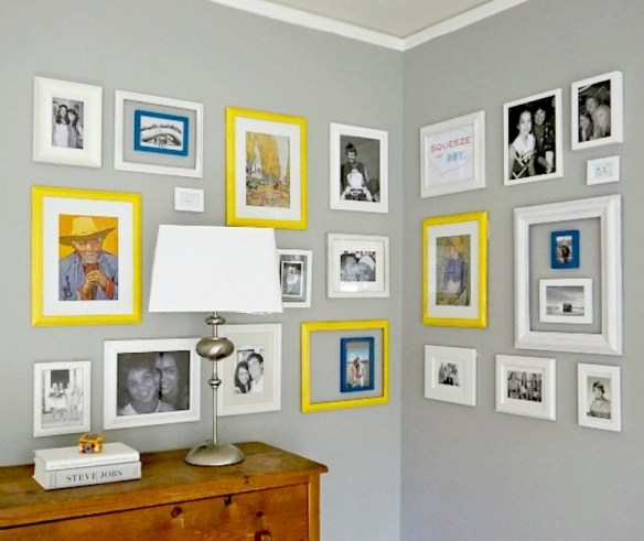 composicao quadros parede duas cores moldura ideias decoracao amarelo