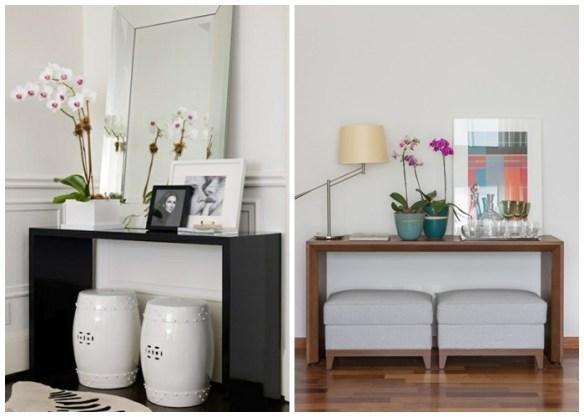 O que colocar sobre o aparador ou buffet como decorar banquetas puffs tamboretes garden seat vasos quadros espelhos