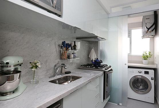 divisoria cozinha lavanderia separacao fechar area de servico porta correr tres folhas vidro jateado