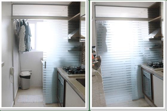 separacao cozinha area de servico lavanderia porta correr vidro jateado