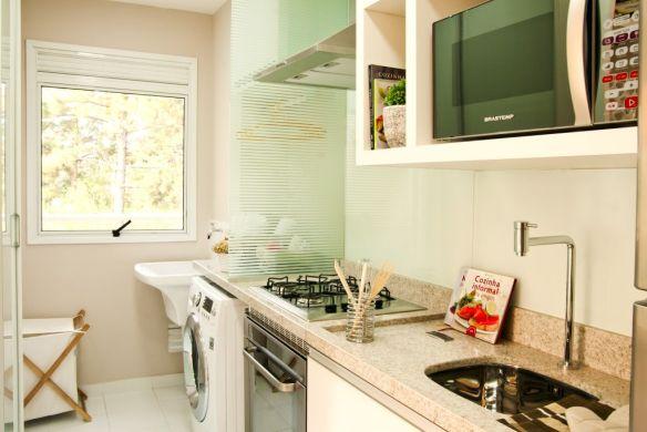 separar cozinha area de servico vidro sobre bancada divisao parcial