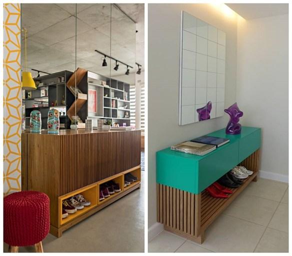 buffet aparador espaco para sapatos hall entrada formas de organizar calçados porta entrada