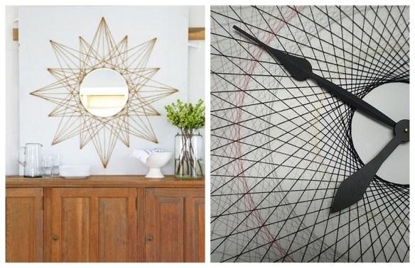 decoracao com linha e pregos moldura espelho base relogio ideias criativas decoracao