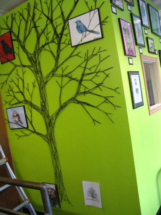 decoracao parede com linhas e pregos arvore decoracao criativa
