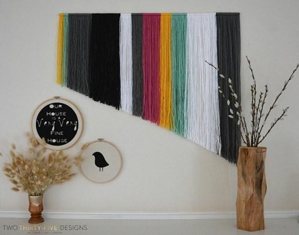 decoracao parede facil barato faca voce mesmo diy decoração com linha fios de lã