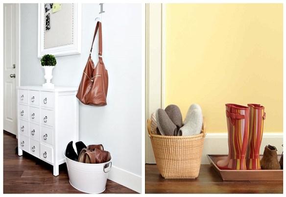 ideias organizacao sapatos entrada casa apartamento cestos