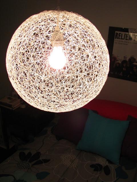 luminaria pendente bola linha fio faca voce mesmo diy