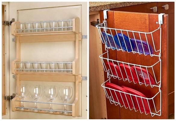 organizacao cozinha atras da porta cozinha copos tampas aproveitar espaco