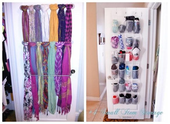 organizacao guardar lenços ideias atras da porta pequenos espacos closet