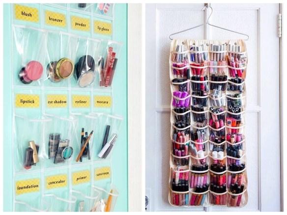 organizacao maquiagem organizador bolsos pequenos espacos atras da porta