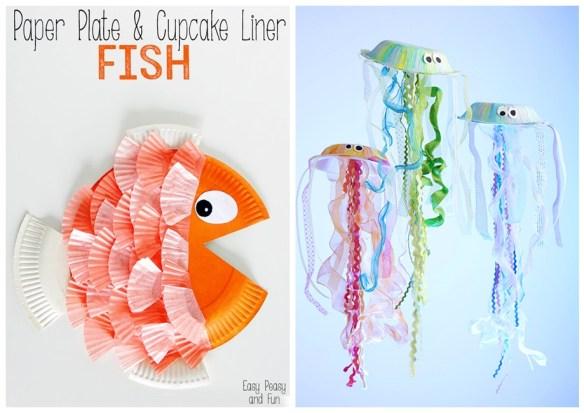 projetos faceis artes para fazer com crianças ideias criativas prato de papel decoracao peixe medusas mar