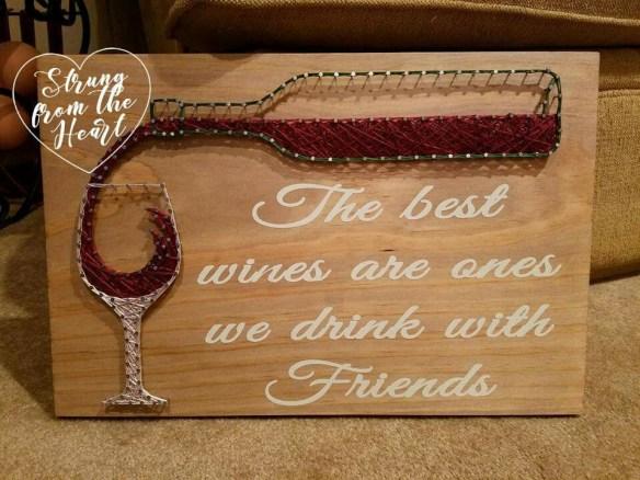 quadro garrafa vinho taca linhas pregos decoracao