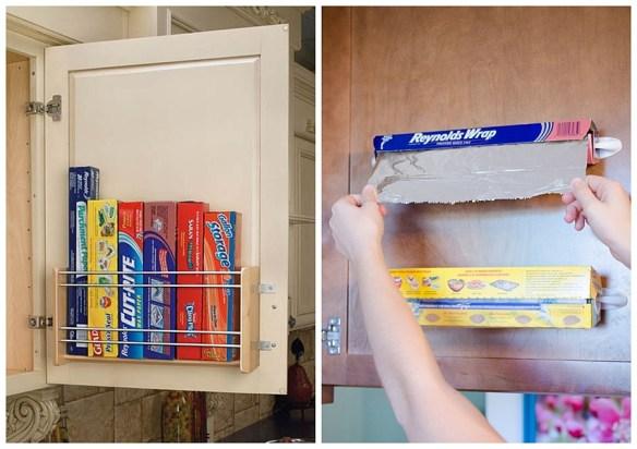 rolo papel aluminio papel manteiga filme atras da porta do armario organizacao armazenamento aproveitamento espaco