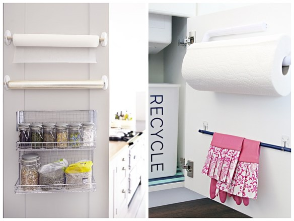suporte papel toalha papel manteiga aluminio atras da porta armario cozinha organizacao dicas