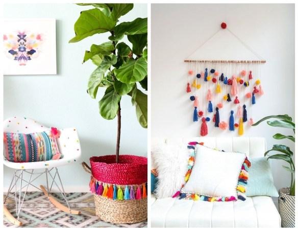 tassel pingente franja fios linha decoracao parede vaso planta