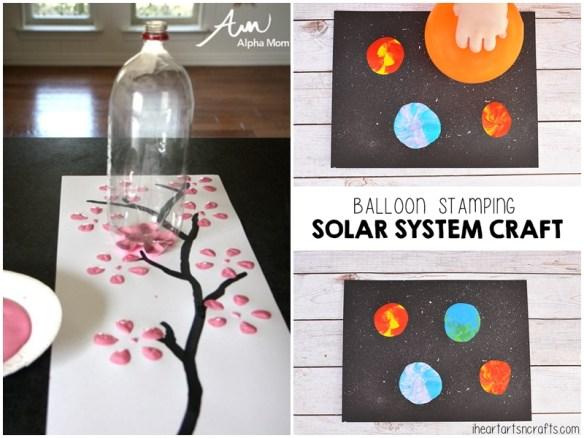 atividade artes criancas carimbo fundo garrafa pet flores cerejeira bexiga sistema solar 2