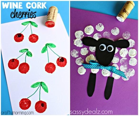 atividades artes criancas carimbo com rolha ideias cereja ovelha